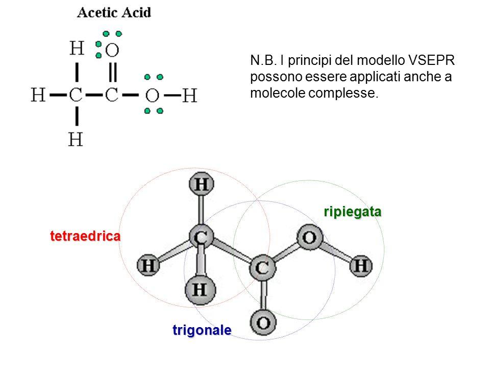 N.B.I principi del modello VSEPR possono essere applicati anche a molecole complesse.