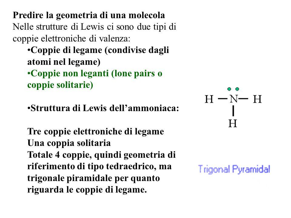 Predire la geometria di una molecola Nelle strutture di Lewis ci sono due tipi di coppie elettroniche di valenza: Coppie di legame (condivise dagli atomi nel legame) Coppie non leganti (lone pairs o coppie solitarie) Struttura di Lewis dell'ammoniaca: Tre coppie elettroniche di legame Una coppia solitaria Totale 4 coppie, quindi geometria di riferimento di tipo tedraedrico, ma trigonale piramidale per quanto riguarda le coppie di legame.