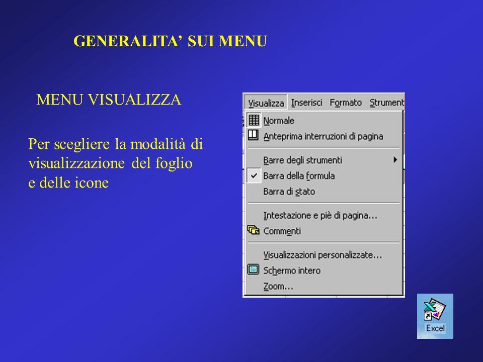 GENERALITA' SUI MENU MENU VISUALIZZA Per scegliere la modalità di visualizzazione del foglio e delle icone