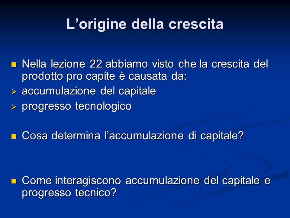 Nella lezione 22 abbiamo visto che la crescita del prodotto pro capite è causata da: Nella lezione 22 abbiamo visto che la crescita del prodotto pro capite è causata da:  accumulazione del capitale  progresso tecnologico Cosa determina l'accumulazione di capitale.