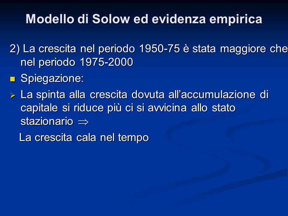 Modello di Solow ed evidenza empirica 2) La crescita nel periodo 1950-75 è stata maggiore che nel periodo 1975-2000 Spiegazione: Spiegazione:  La spi