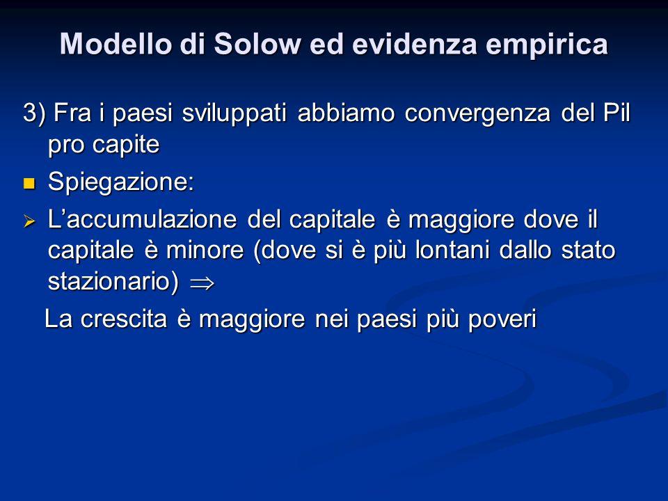 Modello di Solow ed evidenza empirica 3) Fra i paesi sviluppati abbiamo convergenza del Pil pro capite Spiegazione: Spiegazione:  L'accumulazione del