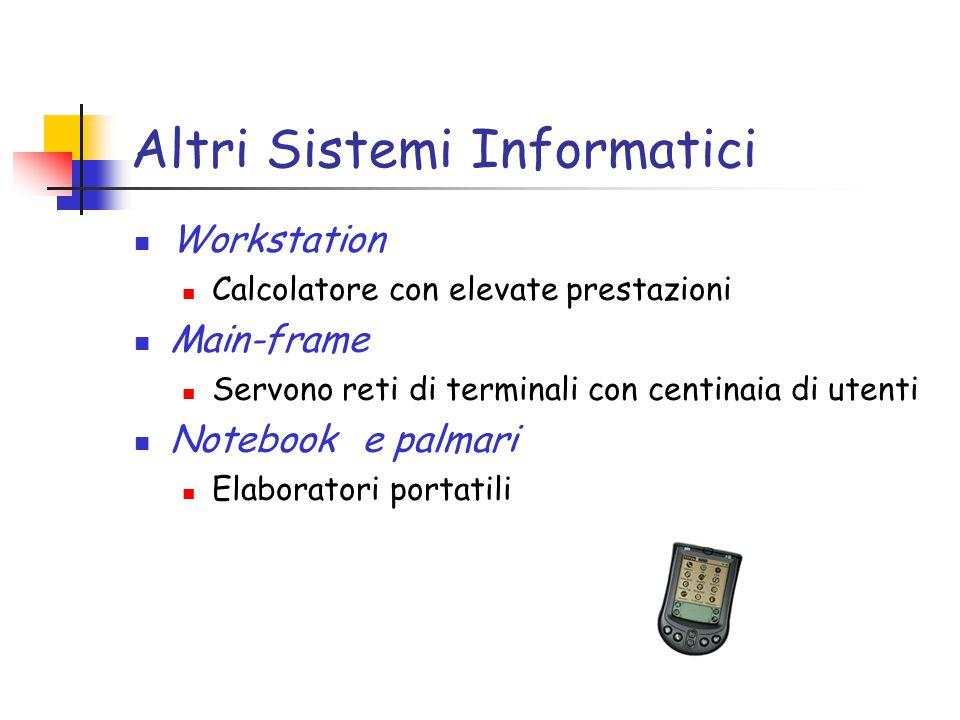 Altri Sistemi Informatici Workstation Calcolatore con elevate prestazioni Main-frame Servono reti di terminali con centinaia di utenti Notebook e palmari Elaboratori portatili