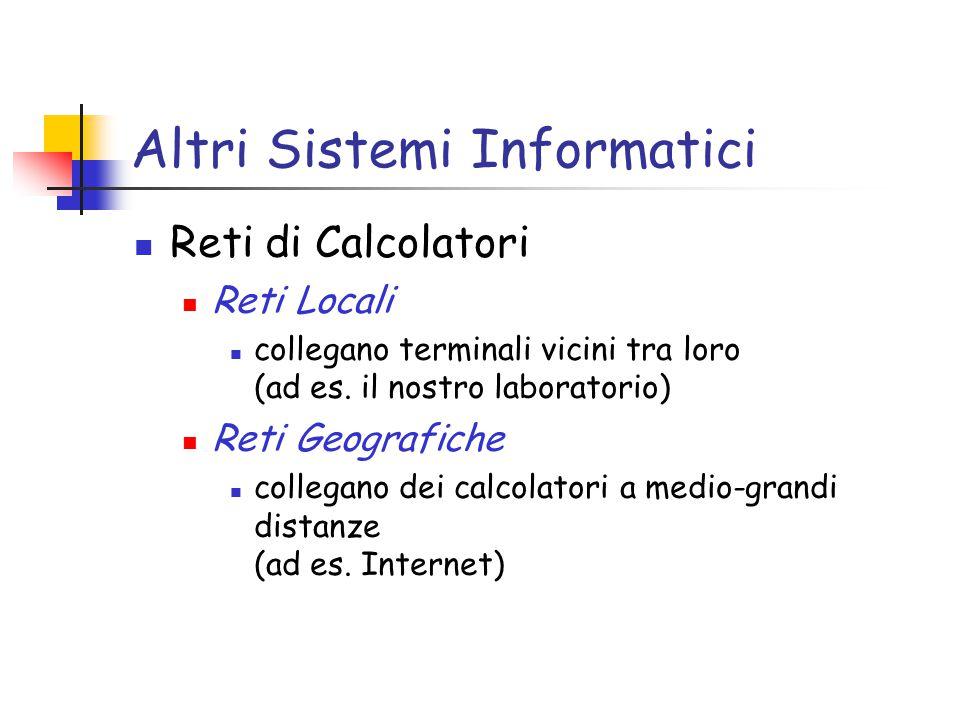 Altri Sistemi Informatici Reti di Calcolatori Reti Locali collegano terminali vicini tra loro (ad es.
