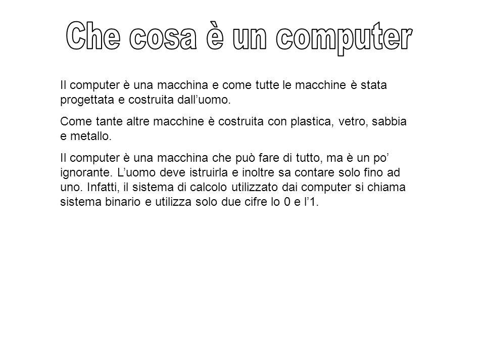 Il computer è una macchina e come tutte le macchine è stata progettata e costruita dall'uomo.