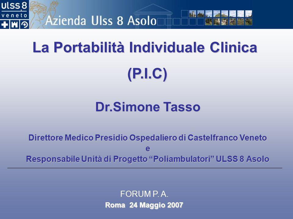 La Portabilità Individuale Clinica (P.I.C) Dr.Simone Tasso Direttore Medico Presidio Ospedaliero di Castelfranco Veneto e Responsabile Unità di Progetto Poliambulatori ULSS 8 Asolo Roma 24 Maggio 2007 FORUM P.
