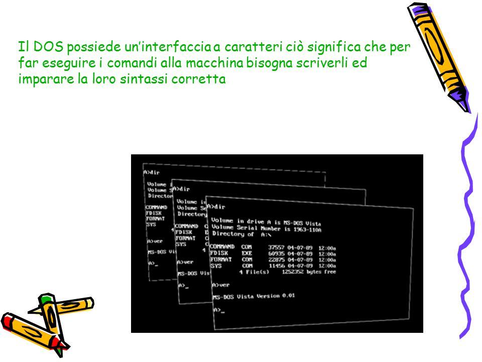 Il DOS possiede un'interfaccia a caratteri ciò significa che per far eseguire i comandi alla macchina bisogna scriverli ed imparare la loro sintassi corretta