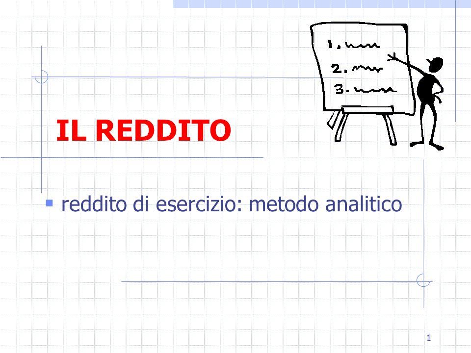 1 IL REDDITO  reddito di esercizio: metodo analitico