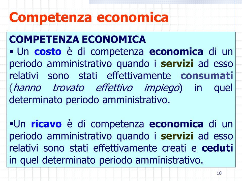 10 Competenza economica COMPETENZA ECONOMICA  Un costo è di competenza economica di un periodo amministrativo quando i servizi ad esso relativi sono stati effettivamente consumati (hanno trovato effettivo impiego) in quel determinato periodo amministrativo.