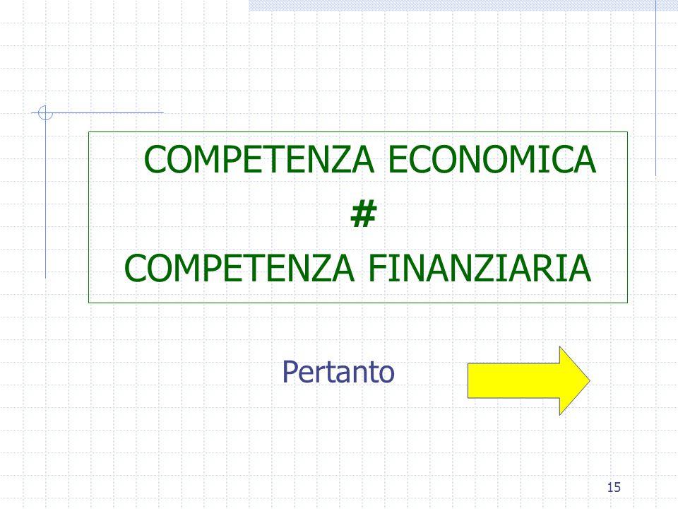 15 COMPETENZA ECONOMICA # COMPETENZA FINANZIARIA Pertanto