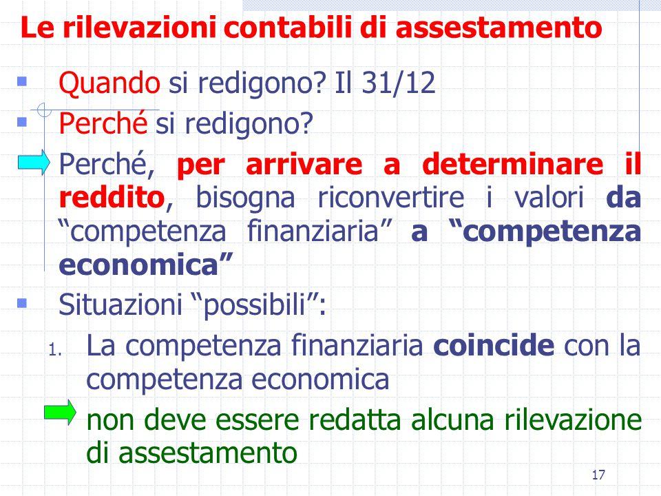 17 Le rilevazioni contabili di assestamento  Quando si redigono.