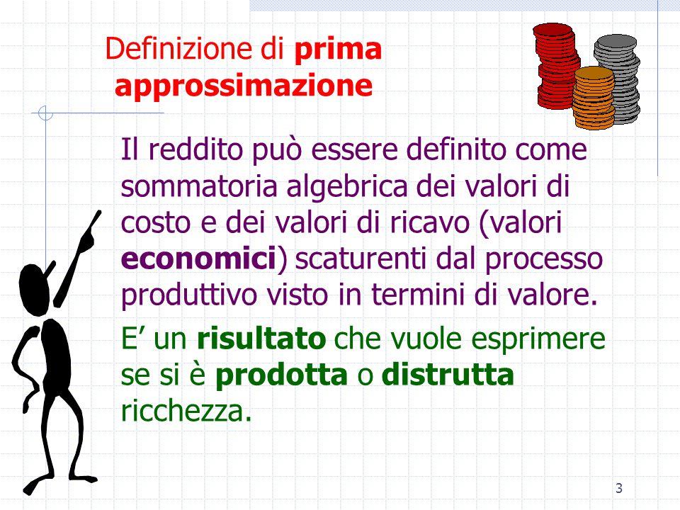 3 Definizione di prima approssimazione Il reddito può essere definito come sommatoria algebrica dei valori di costo e dei valori di ricavo (valori economici) scaturenti dal processo produttivo visto in termini di valore.