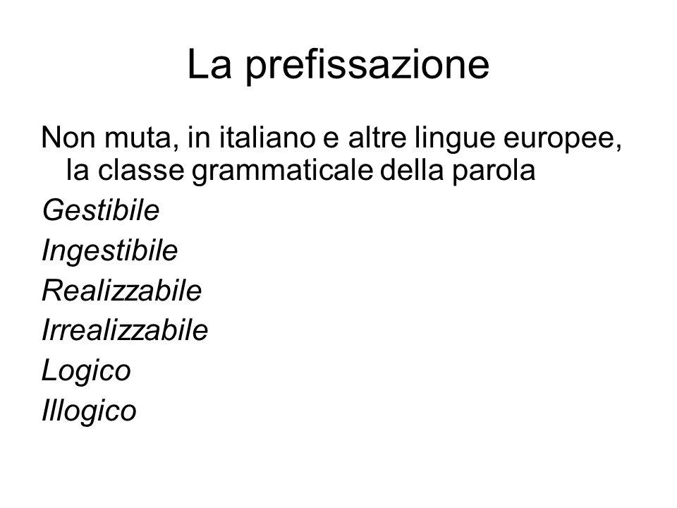 La prefissazione Non muta, in italiano e altre lingue europee, la classe grammaticale della parola Gestibile Ingestibile Realizzabile Irrealizzabile Logico Illogico