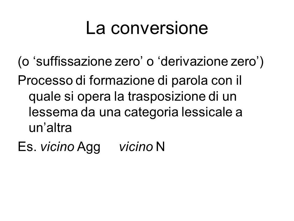 La conversione (o 'suffissazione zero' o 'derivazione zero') Processo di formazione di parola con il quale si opera la trasposizione di un lessema da una categoria lessicale a un'altra Es.