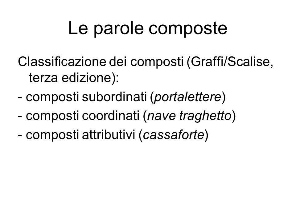 Le parole composte Classificazione dei composti (Graffi/Scalise, terza edizione): - composti subordinati (portalettere) - composti coordinati (nave traghetto) - composti attributivi (cassaforte)