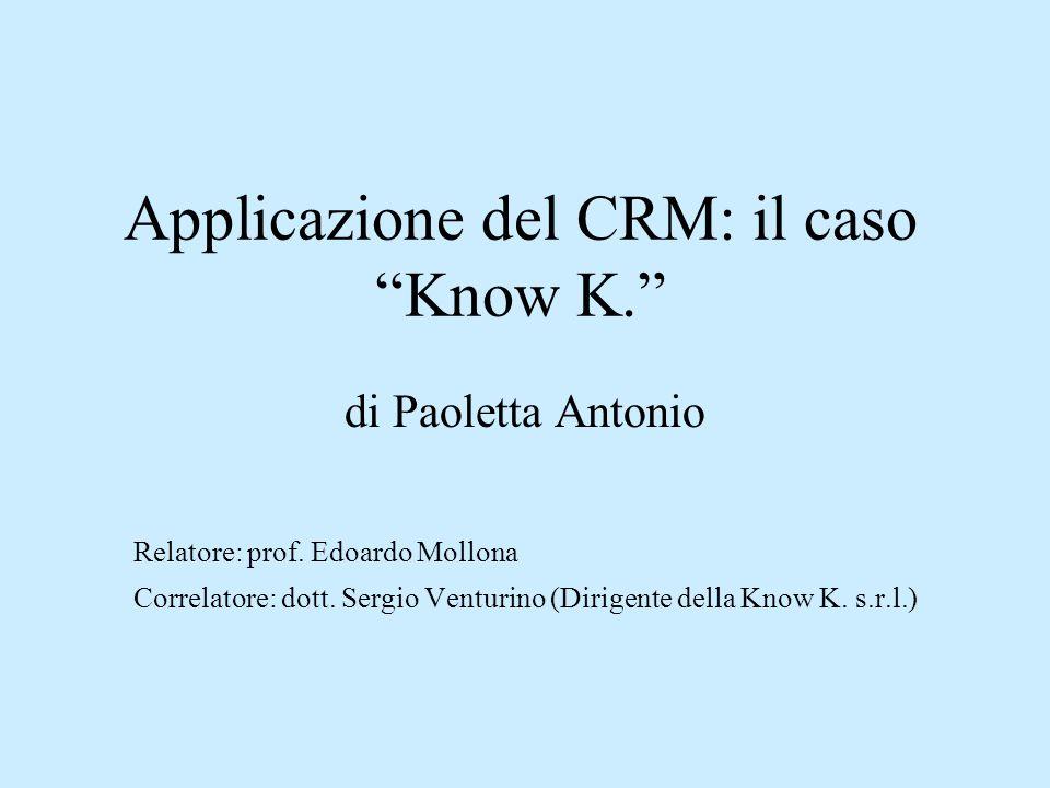"""Applicazione del CRM: il caso """"Know K."""" di Paoletta Antonio Relatore: prof. Edoardo Mollona Correlatore: dott. Sergio Venturino (Dirigente della Know"""