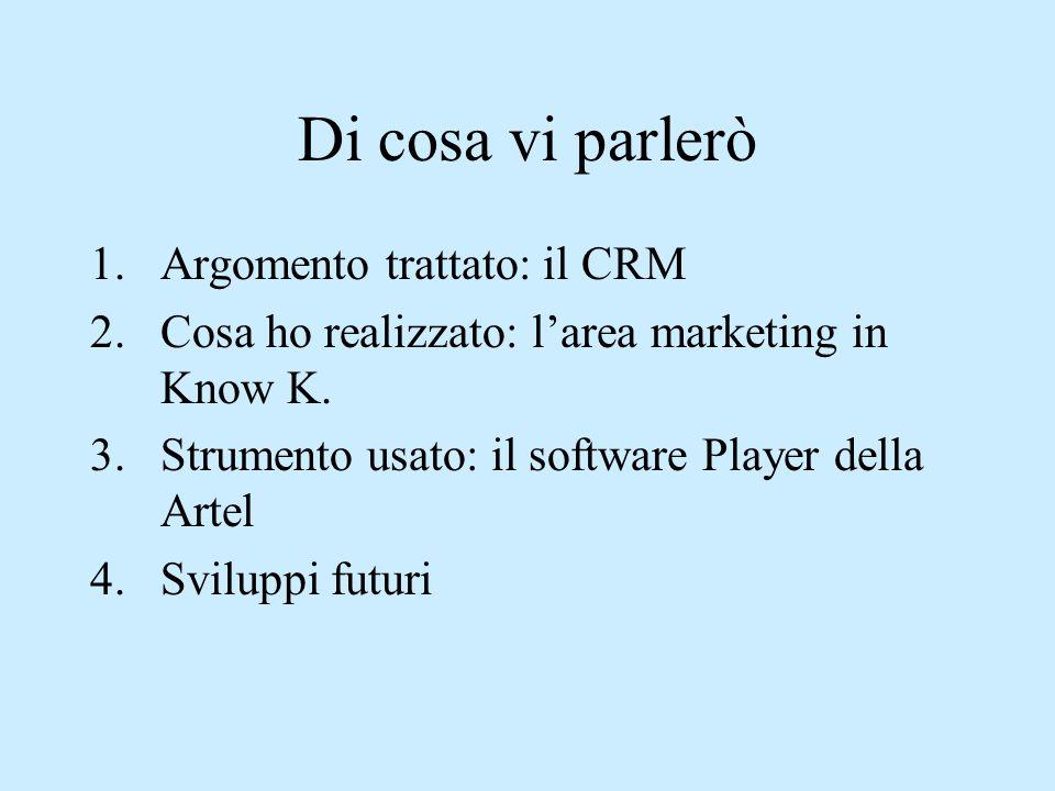 Di cosa vi parlerò 1.Argomento trattato: il CRM 2.Cosa ho realizzato: l'area marketing in Know K. 3.Strumento usato: il software Player della Artel 4.