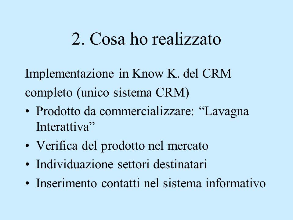 """2. Cosa ho realizzato Implementazione in Know K. del CRM completo (unico sistema CRM) Prodotto da commercializzare: """"Lavagna Interattiva"""" Verifica del"""
