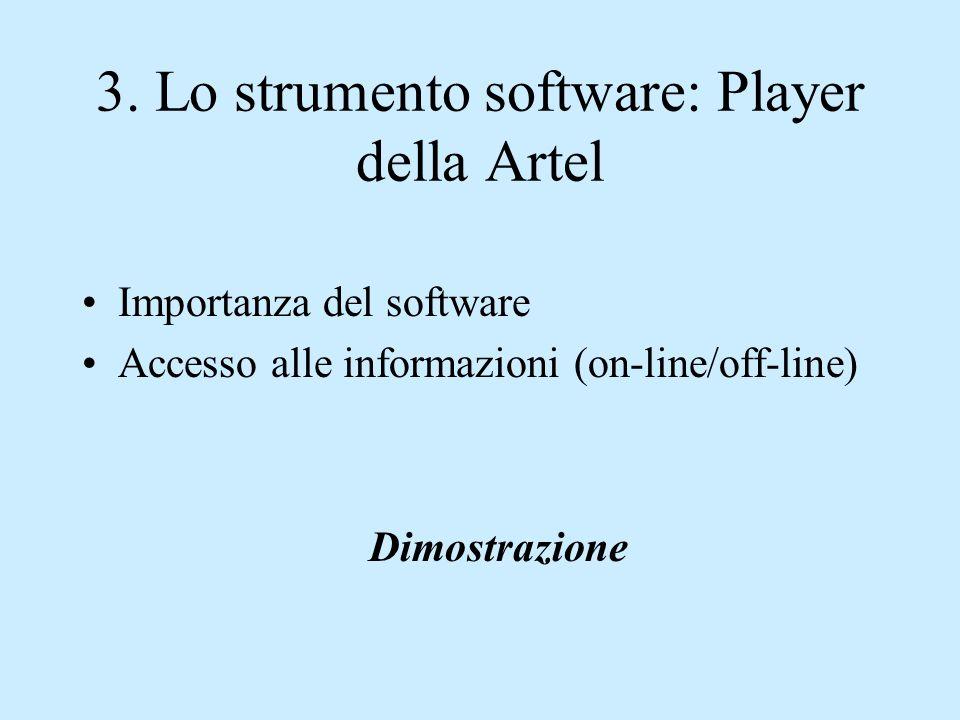 3. Lo strumento software: Player della Artel Importanza del software Accesso alle informazioni (on-line/off-line) Dimostrazione