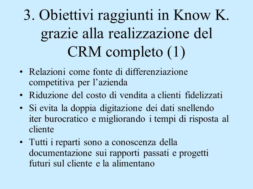3. Obiettivi raggiunti in Know K. grazie alla realizzazione del CRM completo (1) Relazioni come fonte di differenziazione competitiva per l'azienda Ri