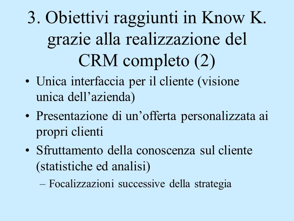 3. Obiettivi raggiunti in Know K. grazie alla realizzazione del CRM completo (2) Unica interfaccia per il cliente (visione unica dell'azienda) Present