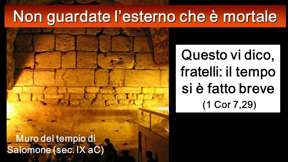 Lc 21,5-19 In quel tempo, mentre alcuni parlavano del tempio, che era ornato di belle pietre e di doni votivi, Spianata dove c'era il Tempio