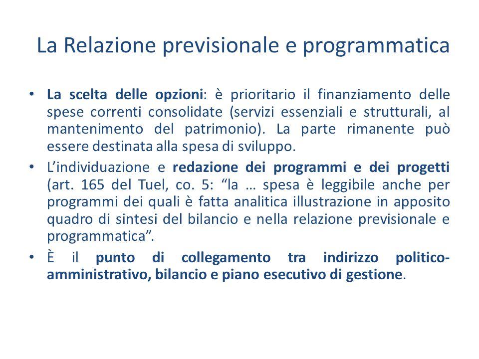 La scelta delle opzioni: è prioritario il finanziamento delle spese correnti consolidate (servizi essenziali e strutturali, al mantenimento del patrim