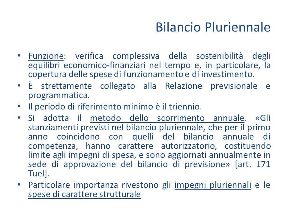 Bilancio Pluriennale Funzione: verifica complessiva della sostenibilità degli equilibri economico-finanziari nel tempo e, in particolare, la copertura