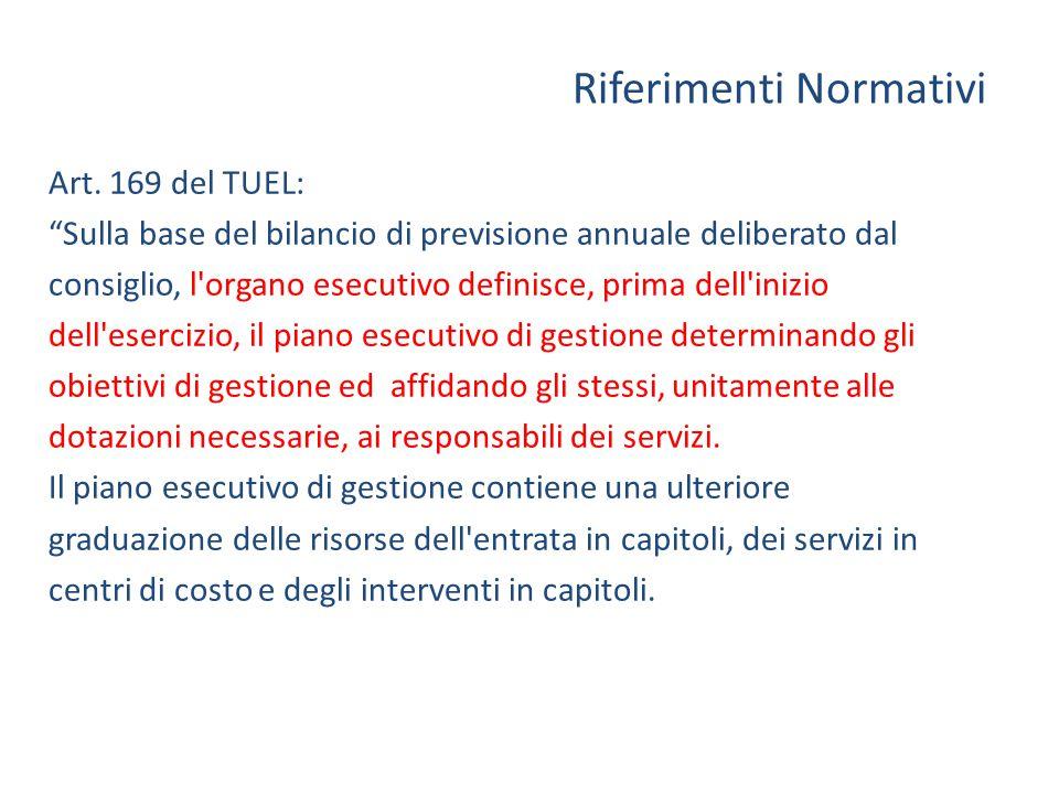 """Riferimenti Normativi Art. 169 del TUEL: """"Sulla base del bilancio di previsione annuale deliberato dal consiglio, l'organo esecutivo definisce, prima"""