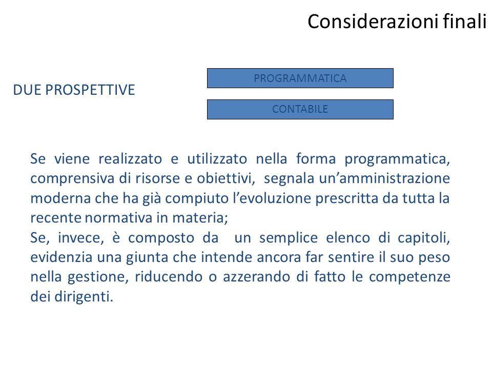 Considerazioni finali Se viene realizzato e utilizzato nella forma programmatica, comprensiva di risorse e obiettivi, segnala un'amministrazione moder