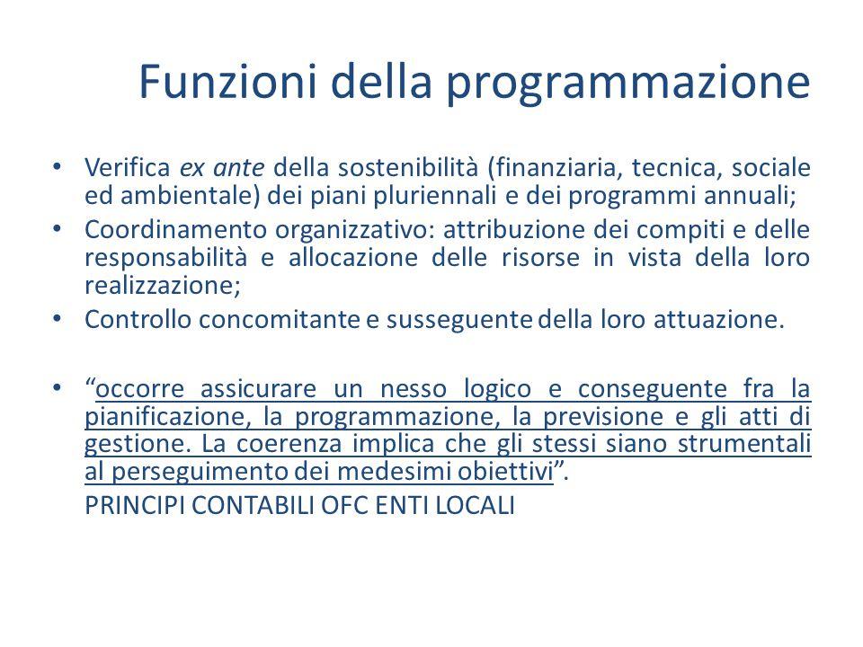 Funzioni della programmazione Verifica ex ante della sostenibilità (finanziaria, tecnica, sociale ed ambientale) dei piani pluriennali e dei programmi