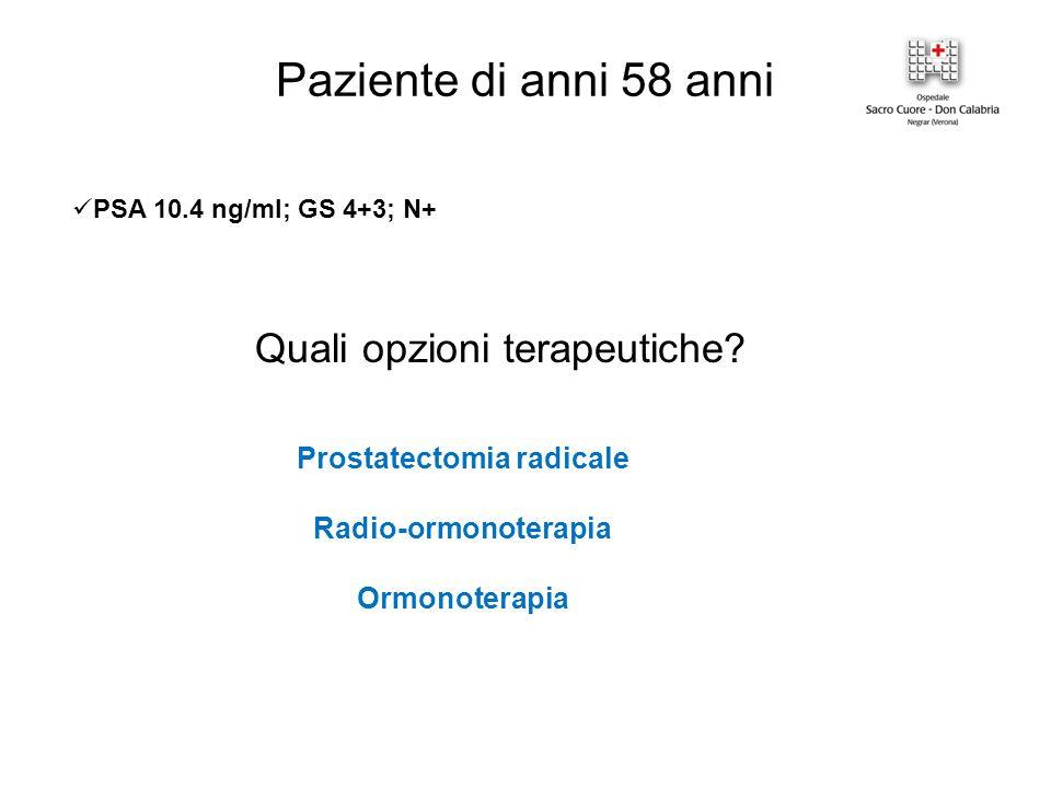 Quali opzioni terapeutiche? Prostatectomia radicale Radio-ormonoterapia Ormonoterapia Paziente di anni 58 anni PSA 10.4 ng/ml; GS 4+3; N+