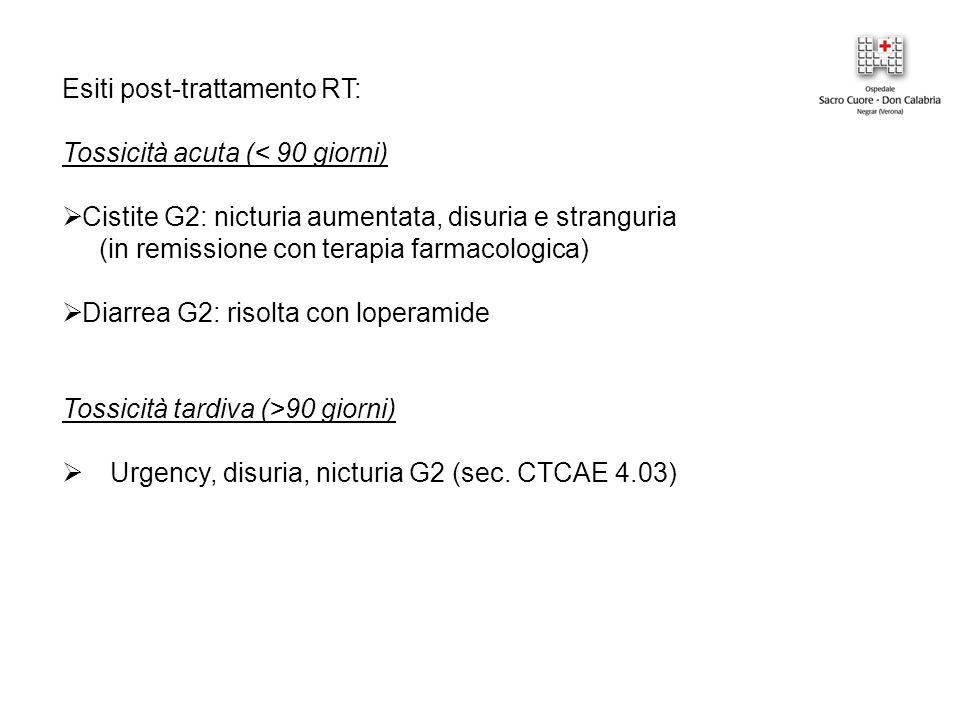 Esiti post-trattamento RT: Tossicità acuta (< 90 giorni)  Cistite G2: nicturia aumentata, disuria e stranguria (in remissione con terapia farmacologica)  Diarrea G2: risolta con loperamide Tossicità tardiva (>90 giorni)  Urgency, disuria, nicturia G2 (sec.