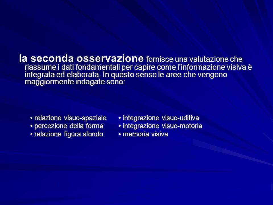 la seconda osservazione fornisce una valutazione che riassume i dati fondamentali per capire come l'informazione visiva è integrata ed elaborata. In q