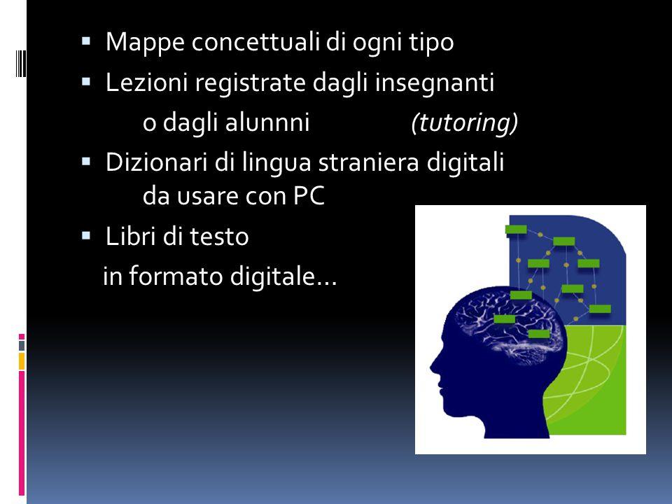  Mappe concettuali di ogni tipo  Lezioni registrate dagli insegnanti o dagli alunnni(tutoring)  Dizionari di lingua straniera digitali da usare con PC  Libri di testo in formato digitale…