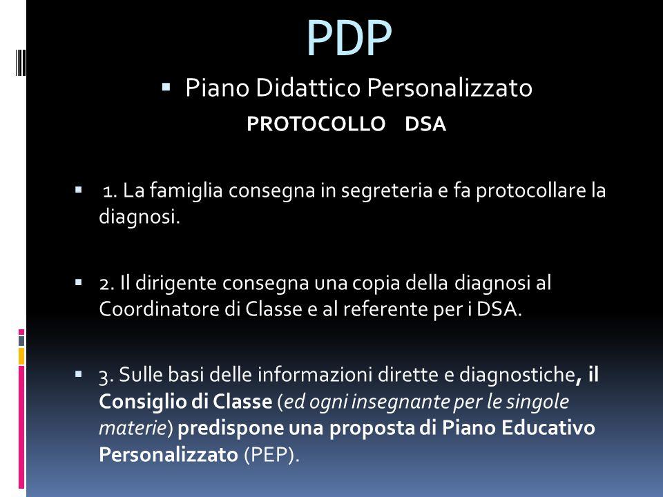 PDP  Piano Didattico Personalizzato PROTOCOLLO DSA  1.