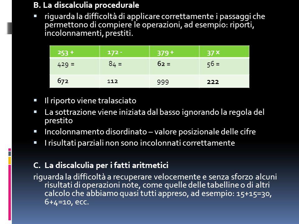B. La discalculia procedurale  riguarda la difficoltà di applicare correttamente i passaggi che permettono di compiere le operazioni, ad esempio: rip