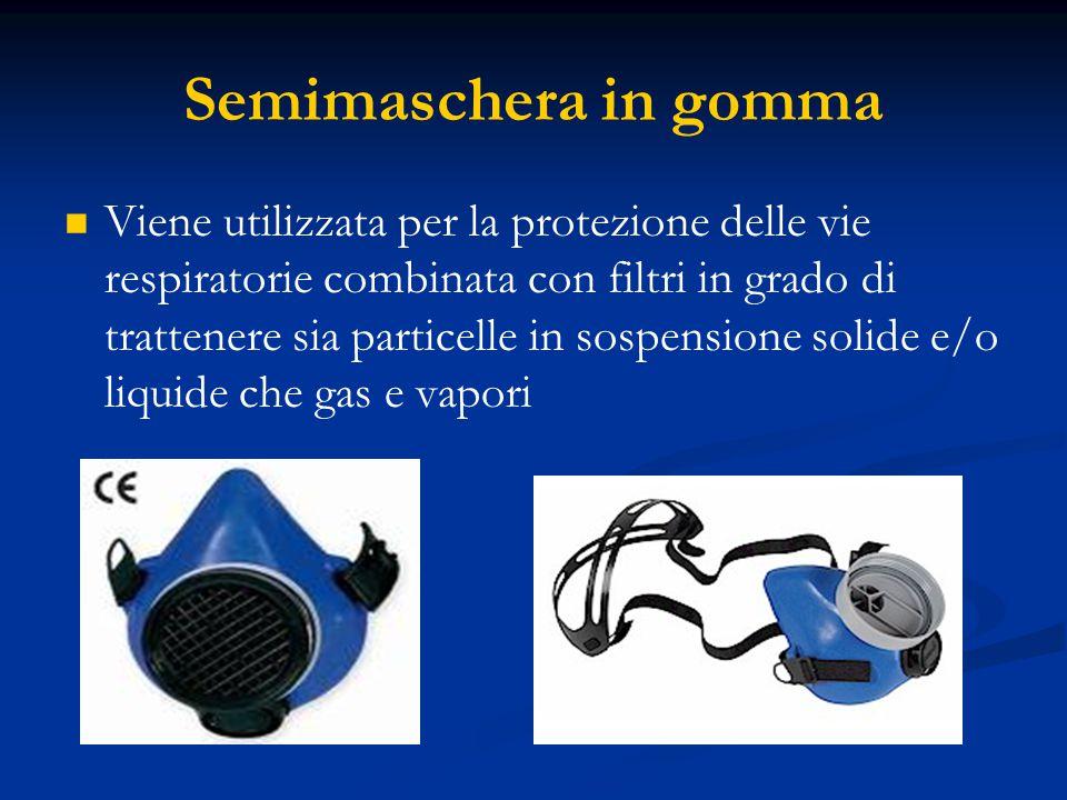 Semimaschera in gomma Viene utilizzata per la protezione delle vie respiratorie combinata con filtri in grado di trattenere sia particelle in sospensi