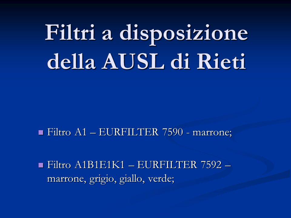 Filtri a disposizione della AUSL di Rieti Filtro A1 – EURFILTER 7590 - marrone; Filtro A1 – EURFILTER 7590 - marrone; Filtro A1B1E1K1 – EURFILTER 7592