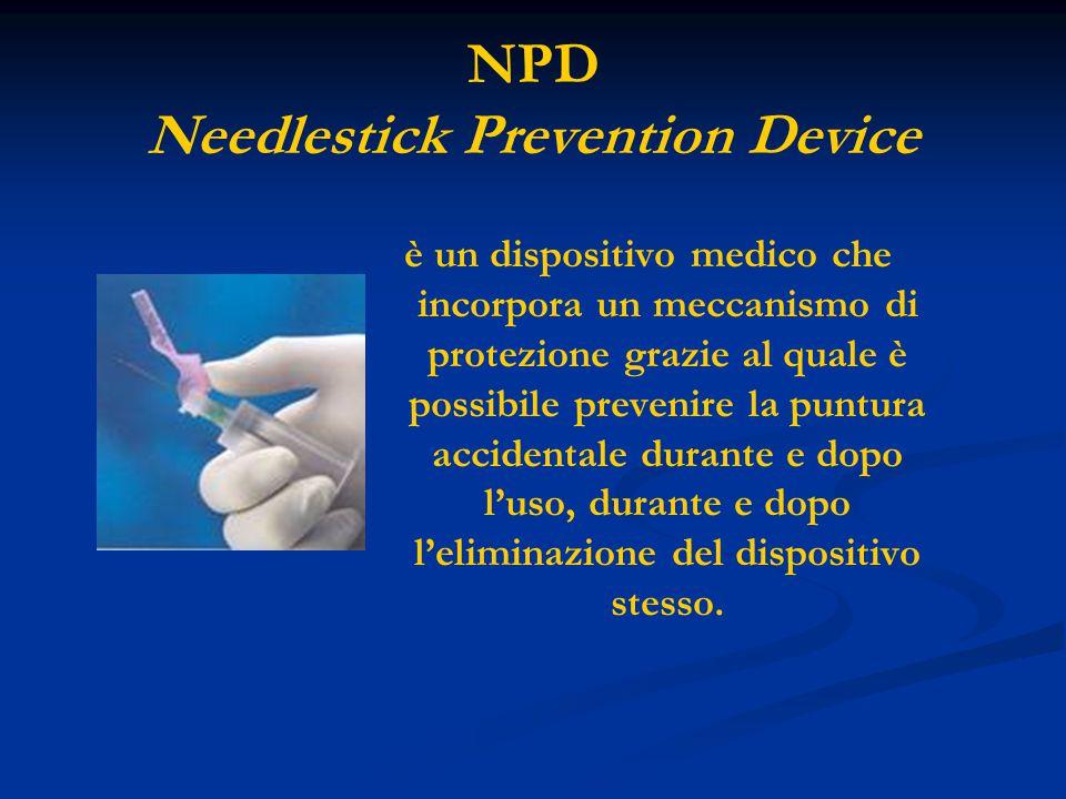 NPD Needlestick Prevention Device è un dispositivo medico che incorpora un meccanismo di protezione grazie al quale è possibile prevenire la puntura a