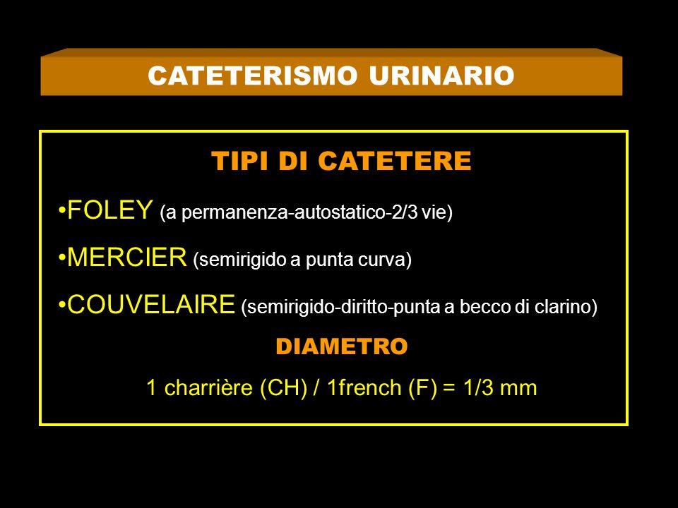 CATETERISMO URINARIO TIPI DI CATETERE FOLEY (a permanenza-autostatico-2/3 vie) MERCIER (semirigido a punta curva) COUVELAIRE (semirigido-diritto-punta a becco di clarino) DIAMETRO 1 charrière (CH) / 1french (F) = 1/3 mm