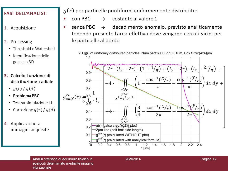 26/9/2014Analisi statistica di accumulo lipidico in epatociti determinato mediante imaging vibrazionale Pagina 12