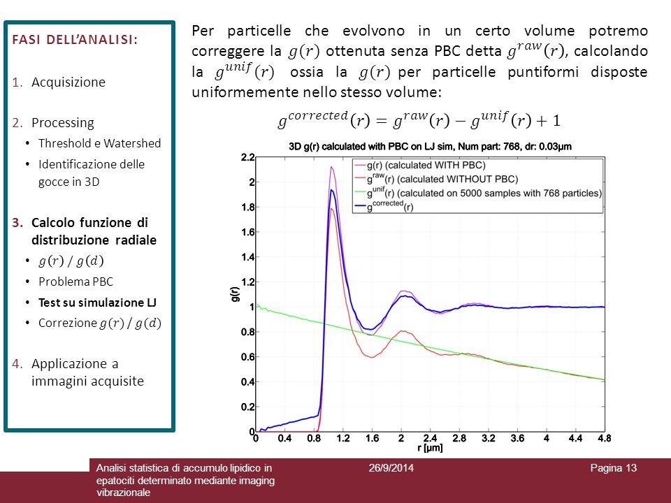 26/9/2014Analisi statistica di accumulo lipidico in epatociti determinato mediante imaging vibrazionale Pagina 13