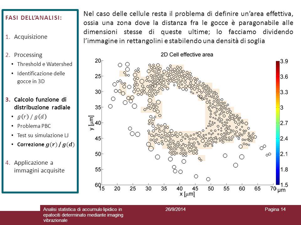 26/9/2014Analisi statistica di accumulo lipidico in epatociti determinato mediante imaging vibrazionale Pagina 14 Nel caso delle cellule resta il prob