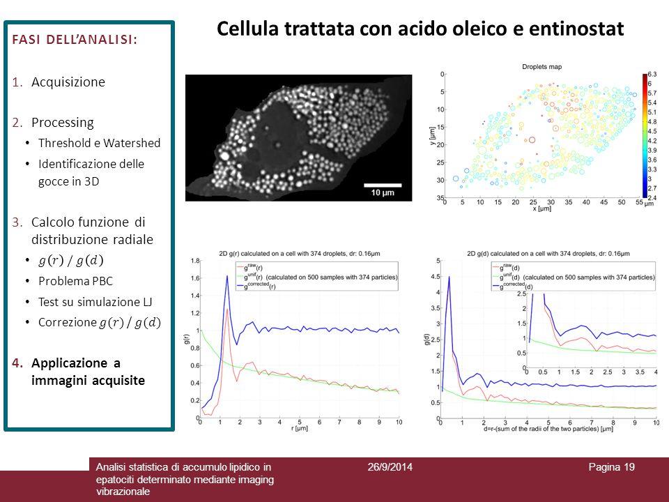 26/9/2014Analisi statistica di accumulo lipidico in epatociti determinato mediante imaging vibrazionale Pagina 19 Cellula trattata con acido oleico e