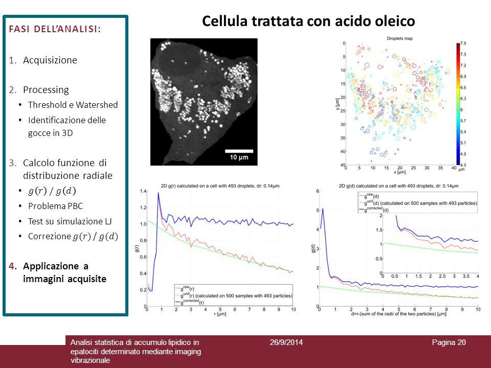 26/9/2014Analisi statistica di accumulo lipidico in epatociti determinato mediante imaging vibrazionale Pagina 20 Cellula trattata con acido oleico