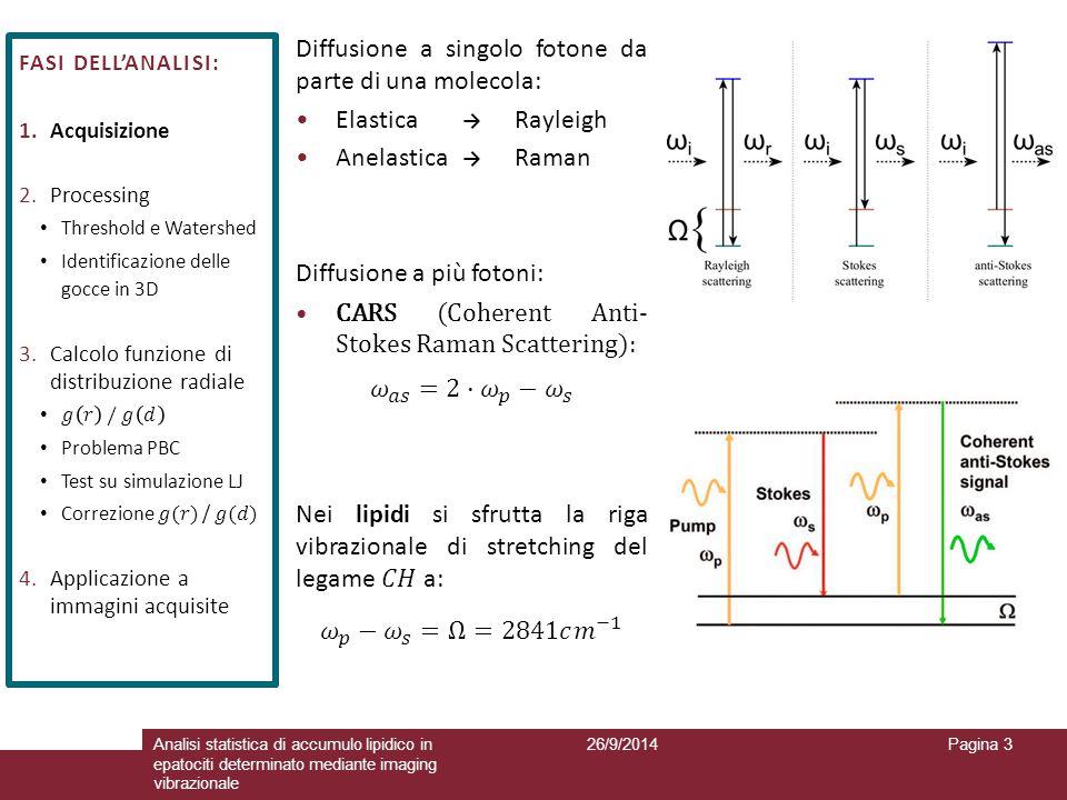 26/9/2014Analisi statistica di accumulo lipidico in epatociti determinato mediante imaging vibrazionale Pagina 3