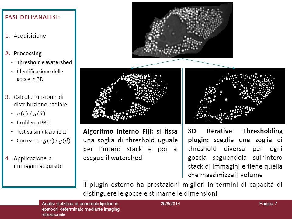 26/9/2014Analisi statistica di accumulo lipidico in epatociti determinato mediante imaging vibrazionale Pagina 7 Algoritmo interno Fiji: si fissa una