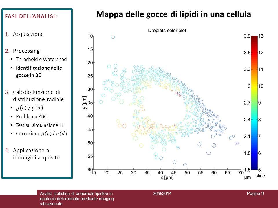 26/9/2014Analisi statistica di accumulo lipidico in epatociti determinato mediante imaging vibrazionale Pagina 9 Mappa delle gocce di lipidi in una ce