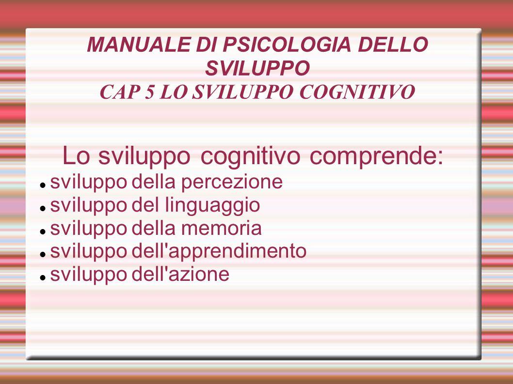 MANUALE DI PSICOLOGIA DELLO SVILUPPO CAP 5 LO SVILUPPO COGNITIVO Lo sviluppo cognitivo comprende: sviluppo della percezione sviluppo del linguaggio sv